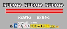 Kubota KX91-2 Ensemble Complet Autocollant Mini Pelle