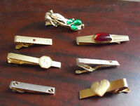 Lot of 7 Vintage Tie Clips Clasps Anson and Swank Others LOOK