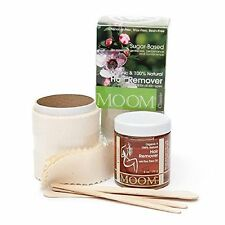 MOOM WAXING STARTER KIT MICROWAVE ORGANIC WAX HAIR REMOVAL SUGARING COTTON STRIP