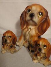 DOG FIGURE FIGURINE FAMILY 3 BASSET HOUND BEAGLE SET CERAMIC VINTAGE PUPPY