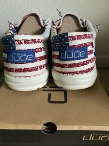 Hey Dude Shoes Men's Wally Patriotic American Flag Off-White Red Blue Size 10