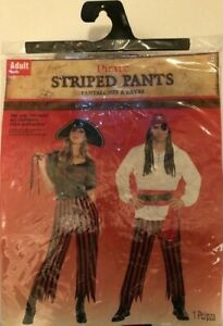 New Pirate Red and Black Striped Pants Halloween Costume Unisex Adult Size