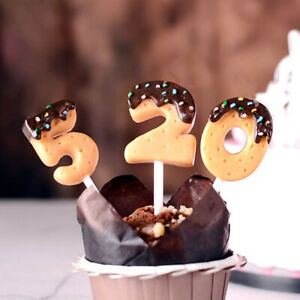 Schokoladenkekse Zahlenkerzen 0-9 Geburtstagskerzen Kinder Cupcake TopperC KaSCD