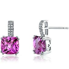 14K White Gold Created Pink Sapphire Earrings Checkerboard Cut 6.00 ct