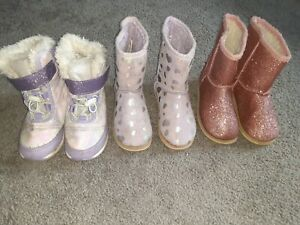 Girls winter boots size 10 Lot of 3 snow boots glitter purple, pink