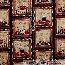 BonEful Fabric FQ Cotton Quilt Black Cream Brown Tan Coffee Espresso Block Frame