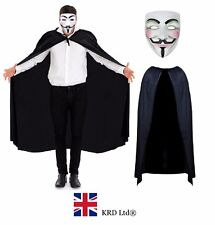 ANONYMOUS V FOR VENDETTA COSTUME Halloween Fancy Dress Guy Hacker MASK + CAPE UK