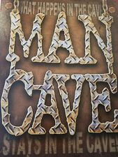 MAN CAVE WHAT HAPPENS GARAGE VINTAGE METAL TIN SIGN HOME DECOR GIFT HUMOR BACH.