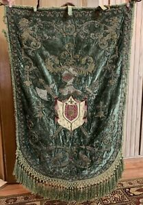Antique Hand Embroidery Gold Threads Italy+French Panel Wall Hanging 33 X 54 In