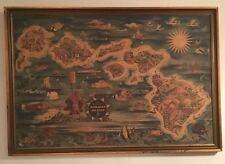 Original 1950 Joseph Feher 'DOLE PINEAPPLE HAWAII ISLANDS' Pictorial Map Poster