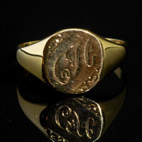 Vintage C H Engraved Ornate Signet Ring 9ct Yellow Gold