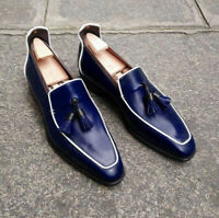 Handmade Men's Loafer Shoes Navy Blue Leather Loafer Slip Ons Tassels Shoes