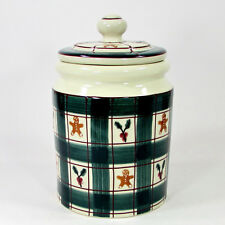 Hartstone Pottery GINGERBREAD PLAID 3Qt Cookie Jar Canister Vintage 1983 Holly