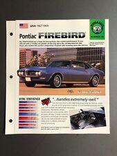 "1967 - 1969 Pontiac Firebird IMP ""Hot Cars"" Spec Sheet Folder Brochure Awesome"
