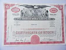 Pan American World Airways Stock Certificate N568112 100 Shares
