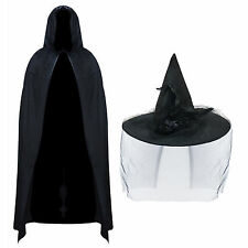 Deluxe Halloween Witch Hat & Veil with Velvet Cape Fancy Dress Costume Set