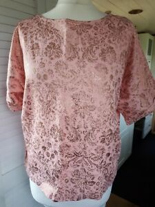 F&f 12 Ladies Pale Pink Gold Short Sleeve Top