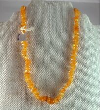 "Amber Necklace Gemstone Nugget New Aritsan Handcrafted 15"" Butterscotch Yellow"