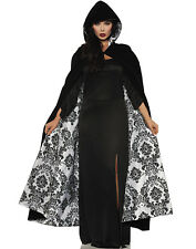 Deluxe Black Velvet White Satin Flocked Gothic Hooded Vampire Halloween Cape-Os