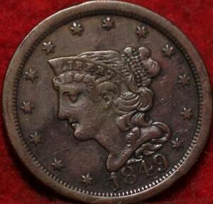 1849 Philadelphia Mint Copper Braided Hair Half Cent