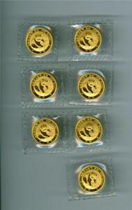 CHINA 1988 5 YUAN GOLD PANDA 1/20 OZ. .999 GOLD GEM BU WITH RED SPOTS