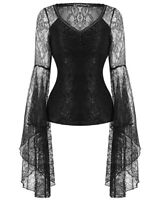 Dark In Love Womens Gothic Top Black Lace Sleeve Steampunk Vintage Witch Vampire