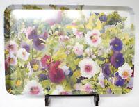 """Beautiful Made in Italy Melamine Tray Hollyhocks (Alcea rosea) 17.5"""" x 12"""""""