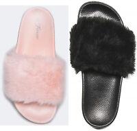 Furry Fluffy SlipOn Round Open Toe Flat Comfort Slipper Slide Sandals Flip Flops