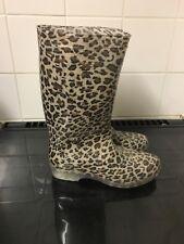 Marrón Estampado de Leopardo Wellingtons botas de agua Botas Talla 3 Nuevo Sin Caja
