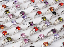wholesale lots 20pcs 100% Zirconia Engagement Wedding Silver Plated Rings FREE