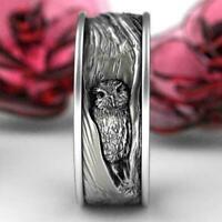 Vintage Herrenmode Silber Eule & Baumrinde Ring Verlobung Schmuck Ehering Y H5V1