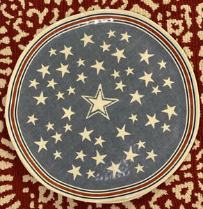"NEW Pottery Barn Stars + Stripes Outdoor Melamine 17"" Round Serving Platter"