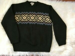 J.Crew 100% Wool Men's Fair Isle Sweater Hand Knit Green SMALL