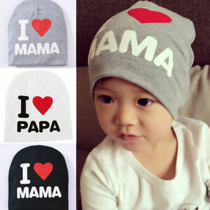 "Toddler Baby Boy Girl ""I Love Papa/Mama Beanie Hat Kids Infant Hospital Soft Cap"