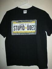 Bubba Gump Shrimp STUPID IS AS STUPID DOES Black Movie T-Shirt MENS MEDIUM