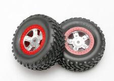 Traxxas Latrax SCT Tires & Wheels Satin Chrome & Red Wheels pr. TRA7073A