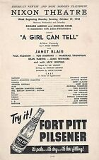 "Janet Blair (Debut) ""A GIRL CAN TELL"" Jack Whiting 1953 FLOP Tryout Broadside"