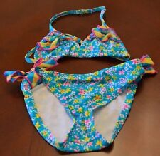 MALIBU Multi Colored  Turquoise Floral 2 Piece Bathing Suit Girls Size 10 EUC