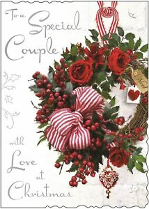 """Jonny Javelin Special Couple Christmas Card -  Xmas Wreath With Bow 10""""x7.5"""""""