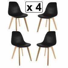 Pack 4 Sillas de comedor  Negro silla diseño nórdico estilo pies de madera