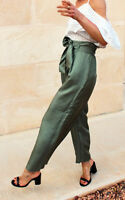 H&M PREMIUM 100% Silk Wide Green High Waist Bow Belt Trousers UK 10 12 EU 38