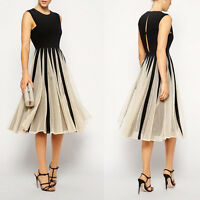 Damen Frauen Chiffon Maxikleid Kleid Partykleid spleiß·Cocktailkleid D lang Z8P1