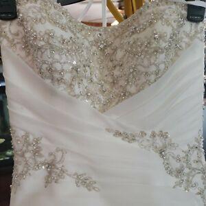 Wedding dress bridal dress crystals  satin Champagne Dress.  U unbranded