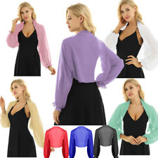 Womens Long Sleeve Shrug Bolero Sheer Chiffon Crop Top Cardigan Blouse Top Party