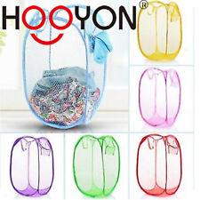 New Laundry Foldable Basket Pop Up Washing Clothes Bag Bin Hamper Mesh Storage