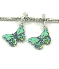 NEW 2pcs Silver Butterfly European Charm Spacer Beads Fit Necklace Bracelet  HOT