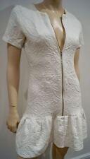 THE KOOPLES Winter White Paisley Textured Pattern Pleated Hem Mini Dress 38 UK10