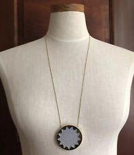 HOUSE OF HARLOW 1960 Light Purple Leather Star Sunburst Necklace Gold Pendant