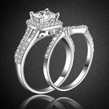 DI- 2x Women Silver Plated Princess Cut Engagement Wedding Bridal Ring Set Advan