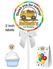 40 CONSTRUCTION DUMP TRUCK BIRTHDAY PARTY STICKERS ~ for lollipops,goody bags